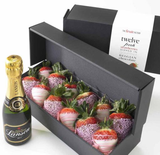Pretty in Pink Strawberries with little lanson champagne