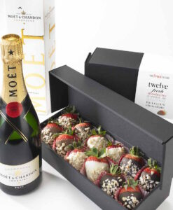 moet and triple chocolate strawberries