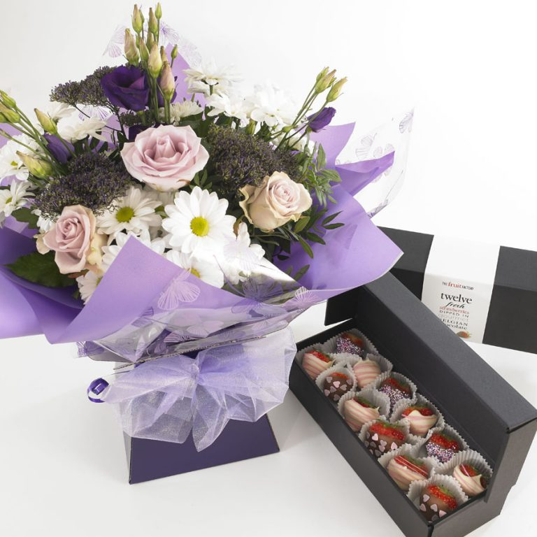 purple-and-pink-flowers-and-mixed-chocs