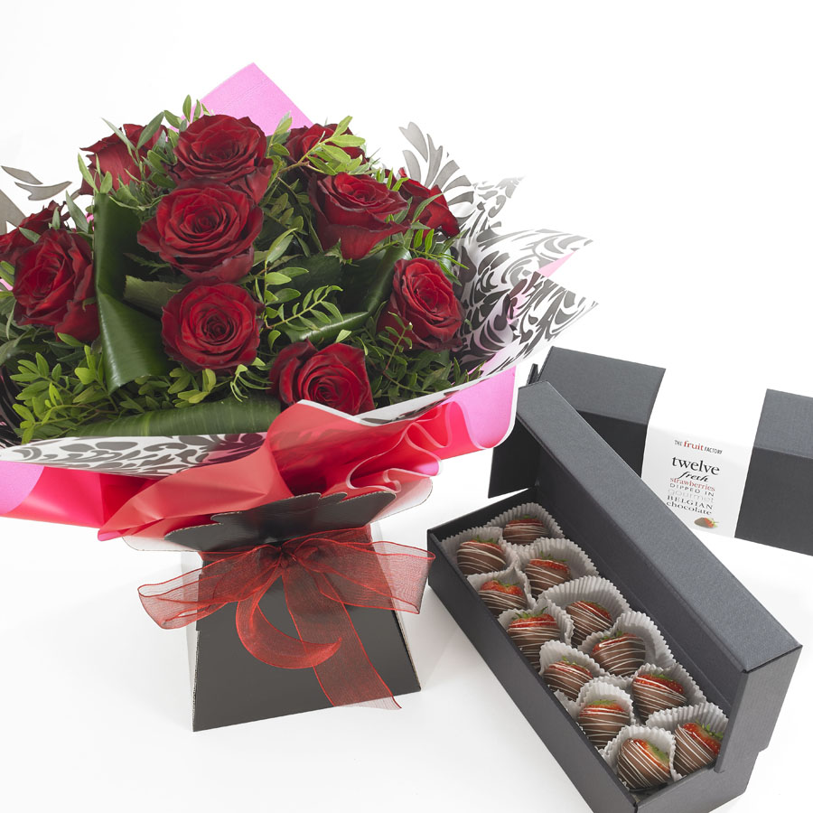 Rose bouquet with chocolate dipped strawberries fruit factory roses bouquet and boxed chocsflowers and chocolate dipped izmirmasajfo Gallery