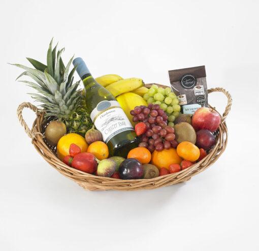 Fruit hamper withwhite wine and chocs