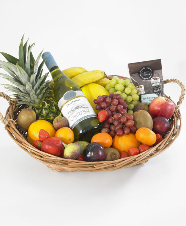 Fruit hamper withwhite wine and chocs