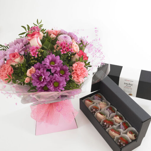 mixed pink bouquet with mixed chocs