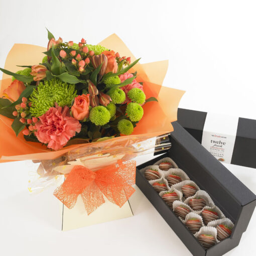 peach flower bouquet and milk chocs