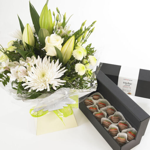 white flowers and milk choc