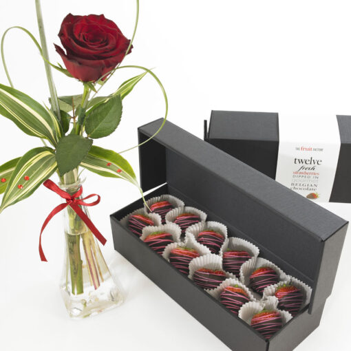 single rose and chocs